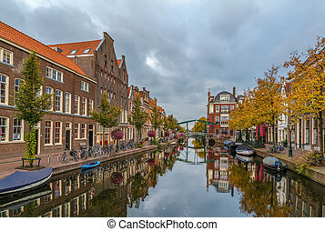 New Rhine river in Leiden, Netherlands - View of New Rhine...