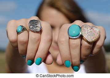 New rings - Girl showing her rings
