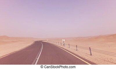 New road from Oasis Liwa to Moreeb Dune in Rub al Khali...