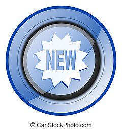 New round blue glossy web design icon isolated on white background