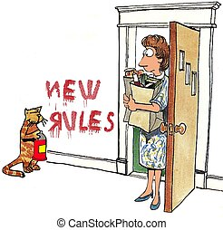 New Rules - Cartoon about a cat that has new rules for the...