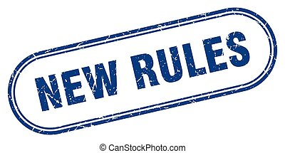 new rules stamp. rounded grunge textured sign. Label