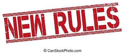 new rules word - red rubber stamp - text on white background