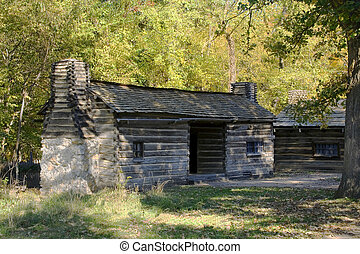 Log cabin at lincolns new salem state historic site