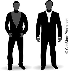 New-school and Old-school businessmen, silhouettes - New...