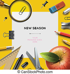 New school season invitation template with office supplies, back to school background, vector Eps10 illustration.