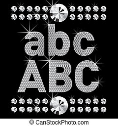 new set of diamond bold letters - vector set of diamond...