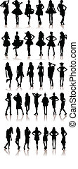 New set of model Girls fashion silhouette. Lady...
