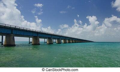 New seven miles bridge in Florida - Panoramic wide-angle...