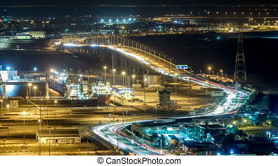 New Sheikh Khalifa Bridge in Abu Dhabi night timelapse,...