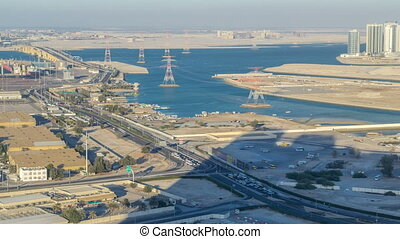 New Sheikh Khalifa Bridge in Abu Dhabi timelapse, United...