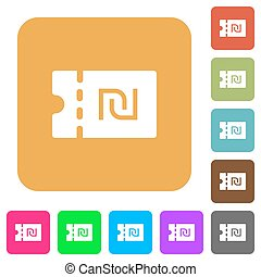 New Shekel discount coupon rounded square flat icons - New...