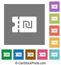 New Shekel discount coupon square flat icons - New Shekel...