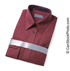 New shirt - New men\'s red dress shirt isolated on white...