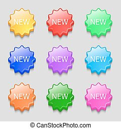 New sign icon. arrival button symbol. Symbols on nine wavy colourful buttons. Vector