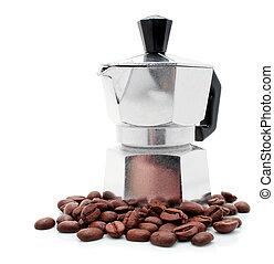new silver coffee-pot with coffee corns