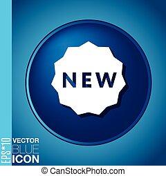 new., simbolo, novità, etichetta, nuovo, icona