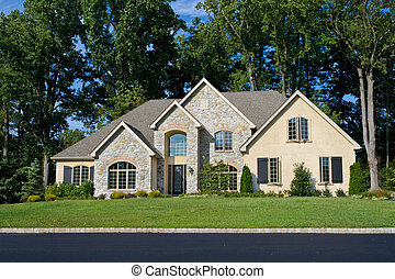 New single family house in suburban Philadelphia, PA.  Modernized Tudor Revival style.