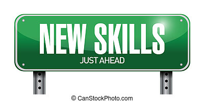 new skills road sign illustration design
