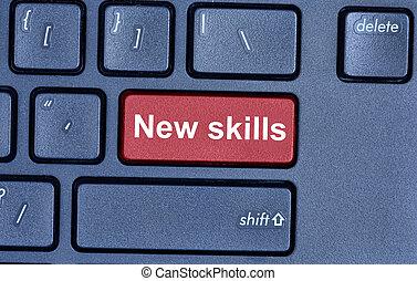 New skills words on computer keyboard