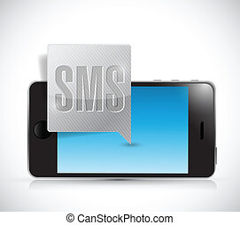 new sms and smartphone illustration design over a white...
