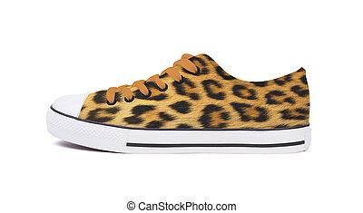 ac41e2904 New sneaker shoe - Leopard. New sneaker shoe, isolated on a white background  - Leopard skin