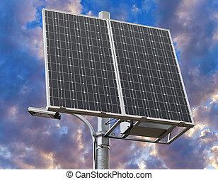 new solar panel over white