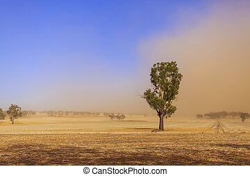 Dust storm blowing over the agricultural fields between Wagga Wagga and Temora, New South Wales