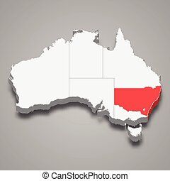 New South Wales region location within Australia 3d isometric map