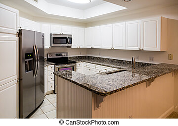 New Stainless Appliances and Granite Counter in White Kitchen