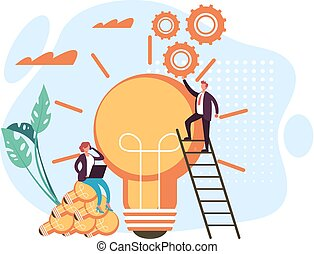 New start up business idea concept. Vector flat graphic design cartoon illustration