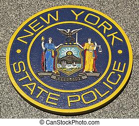 New State Police emblem - New State Police emblem on fallen...