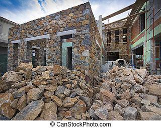 New stone house construction