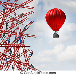 New strategy and independent thinker symbol and new innovative thinking leadership concept or individuality as a group of people climbing ladders in confusing directions with one team of employees in a red balloon going up in a clear direction.