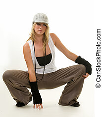New style - Full body of a beautiful blond hair young woman...