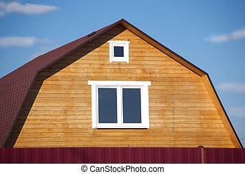 New suburban rural wooden house