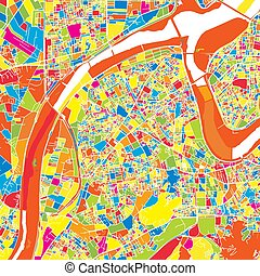 New Taipei City, Taiwan, colorful vector map. White streets...
