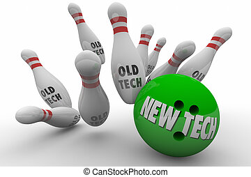 New Tech Vs Beats Old Technology Bowling Ball Strike 3d Illustration