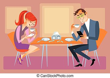 Husband and wife are sitting at the dining table and not talk, but looking at their phones