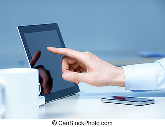 New Technologies At The Workplace - Hand pointing on modern...