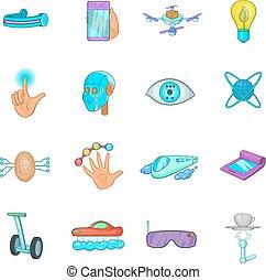 New technologies icons set, cartoon style