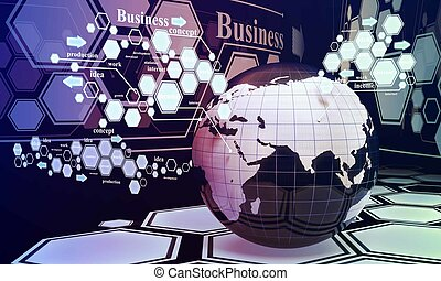 New technologies in the business, the future of business and new ideas. E-land, technology of the future
