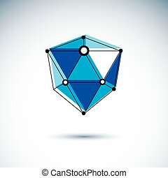 New technology logo. Abstract three-dimensional shape,...
