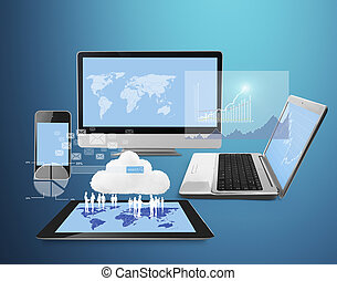 technology, touch screen tablet and computer