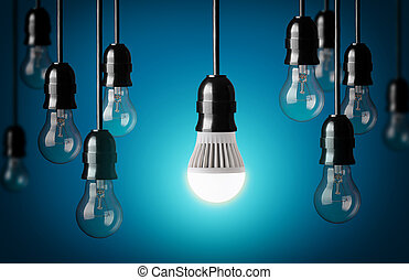 LED bulb and simple light bulbs. Blue background
