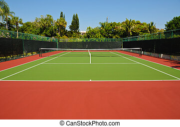 New Tennis Court surrounded by privacy fence
