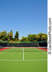 New Tennis Court with Privacy Fence