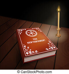 New Testament book on wood table with candle - New Testament...