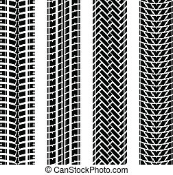 New tire track set - Black tire track silhouette on white...