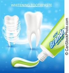 New Toothpaste for Teeth Whitening Vector Promo
